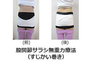股関節サラシ無重力療法(すじかい巻き)